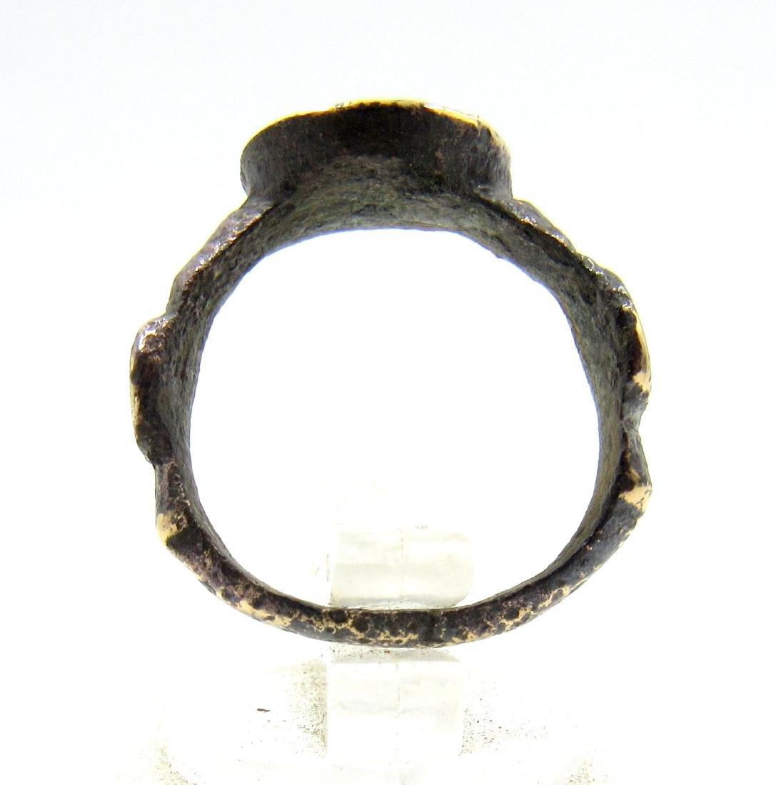 Medieval Viking Era Bronze Runic Ring - 4