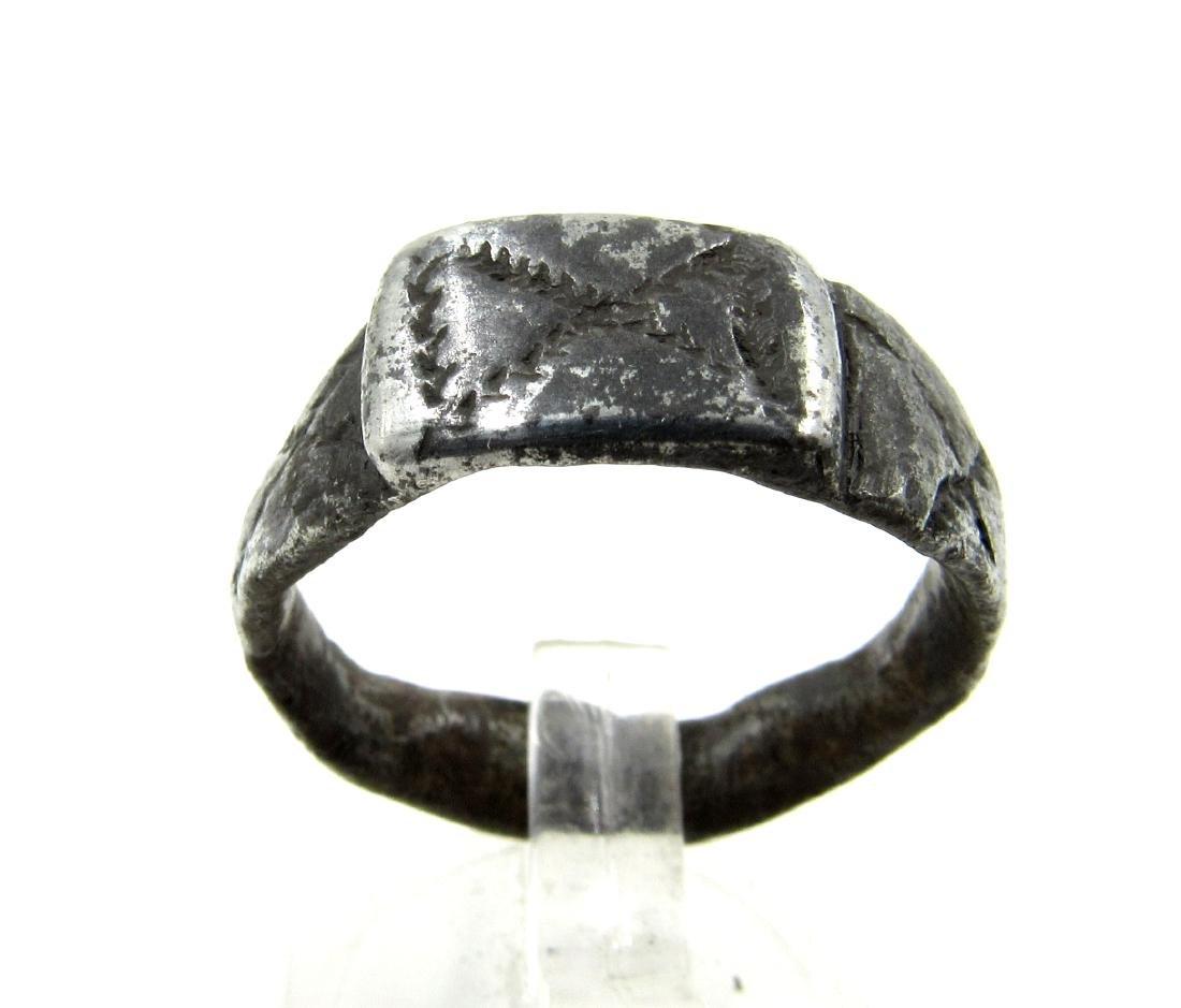Roman Legionary Silver Ring with X - Tenth Legion