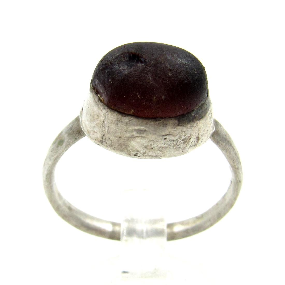 Medieval Viking Era Silver Ring with Stone