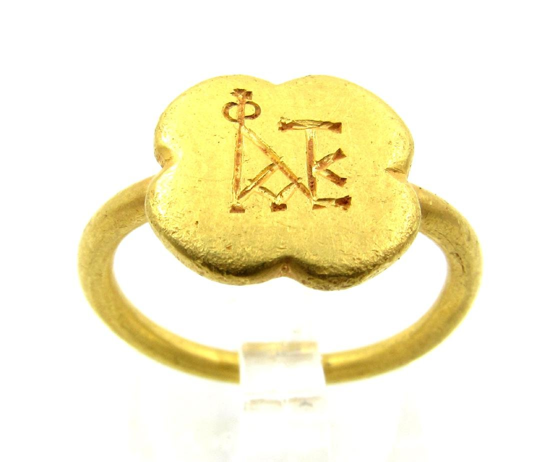 Medieval Crusaders Gold Ring with Christian Monogram