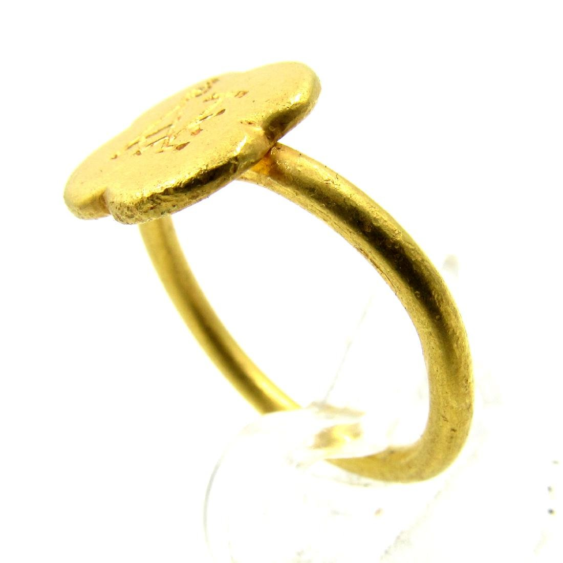 Medieval Crusaders Gold Ring with Christian Monogram - 2