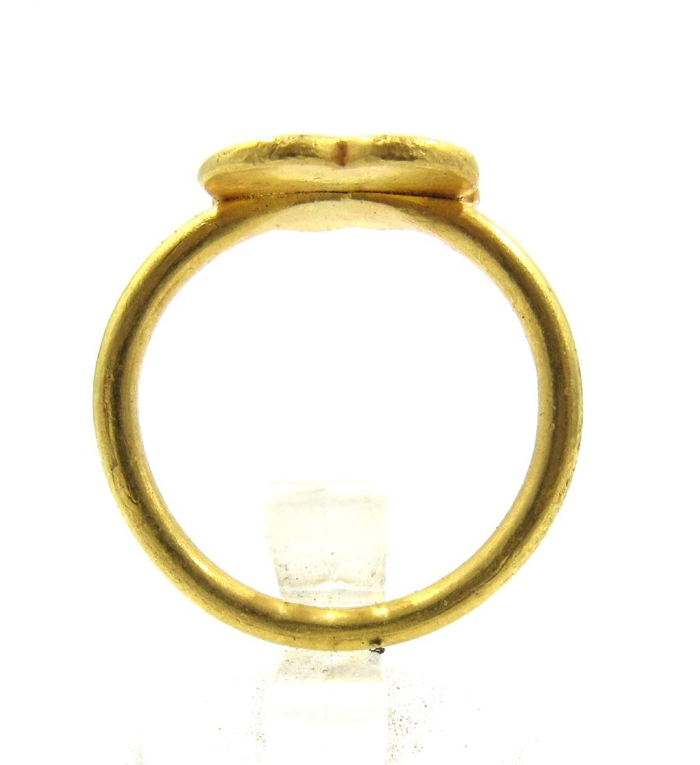 Medieval Crusaders Gold Ring with Christian Monogram - 3