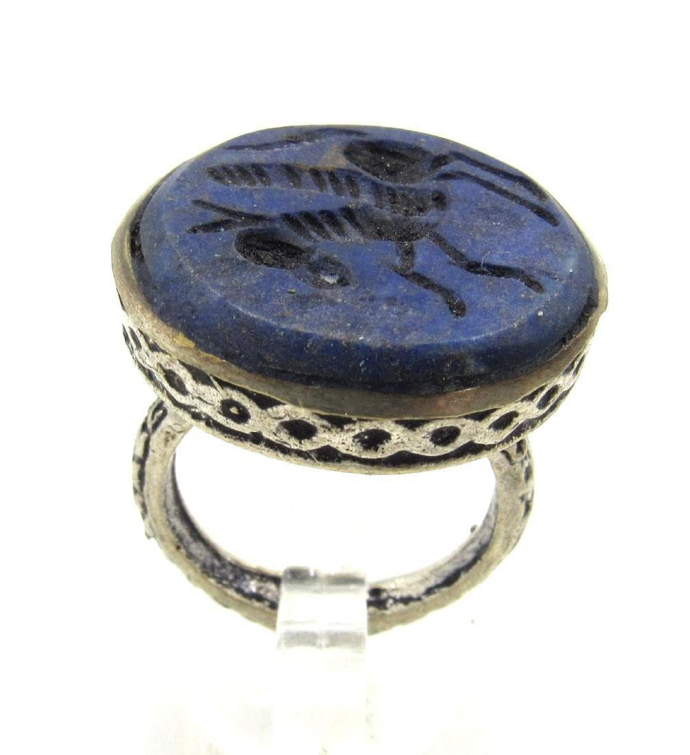 Post Medieval Silver Ring with Lapis Pegasus Intaglio