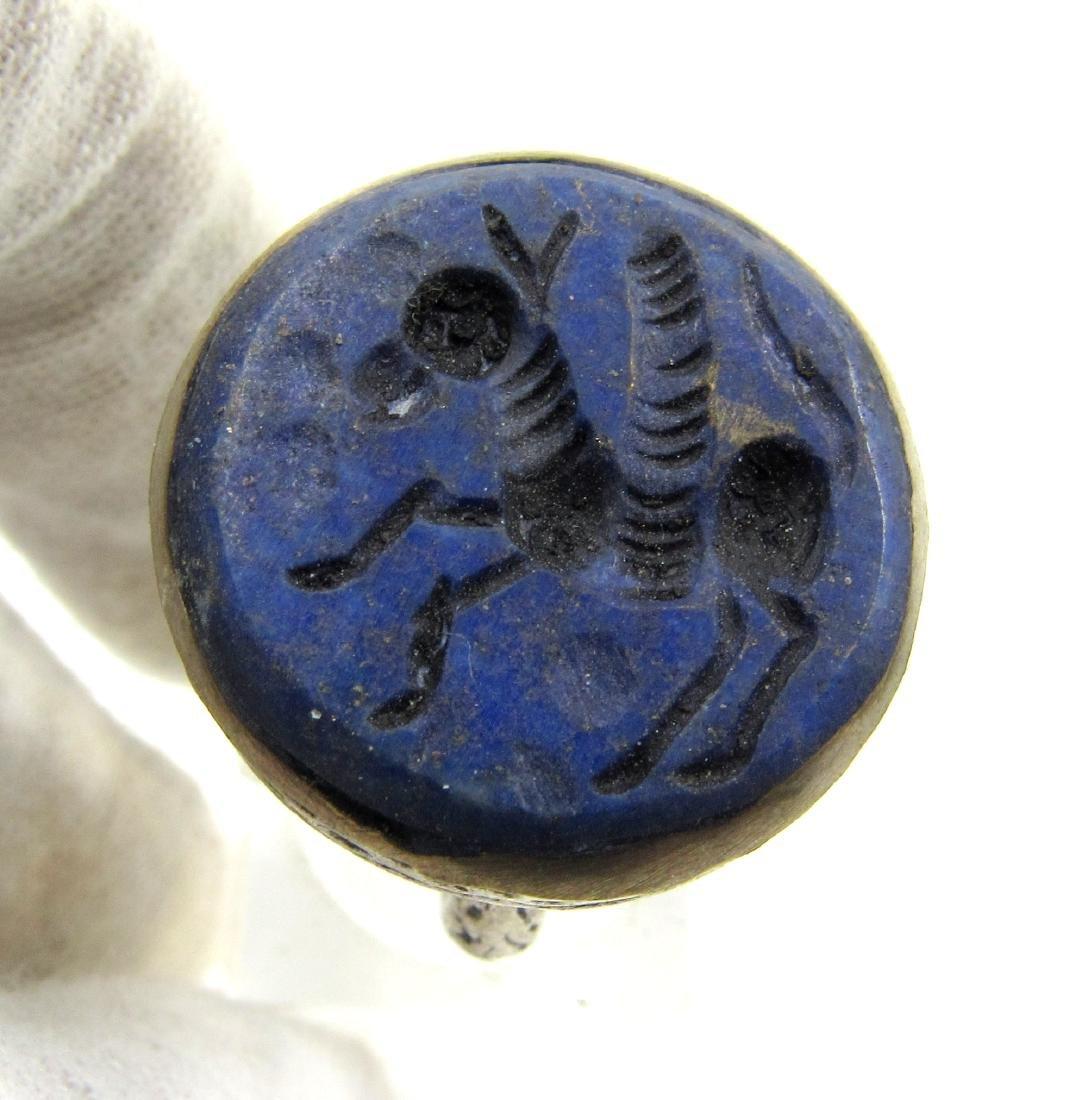 Post Medieval Silver Ring with Lapis Pegasus Intaglio - 2