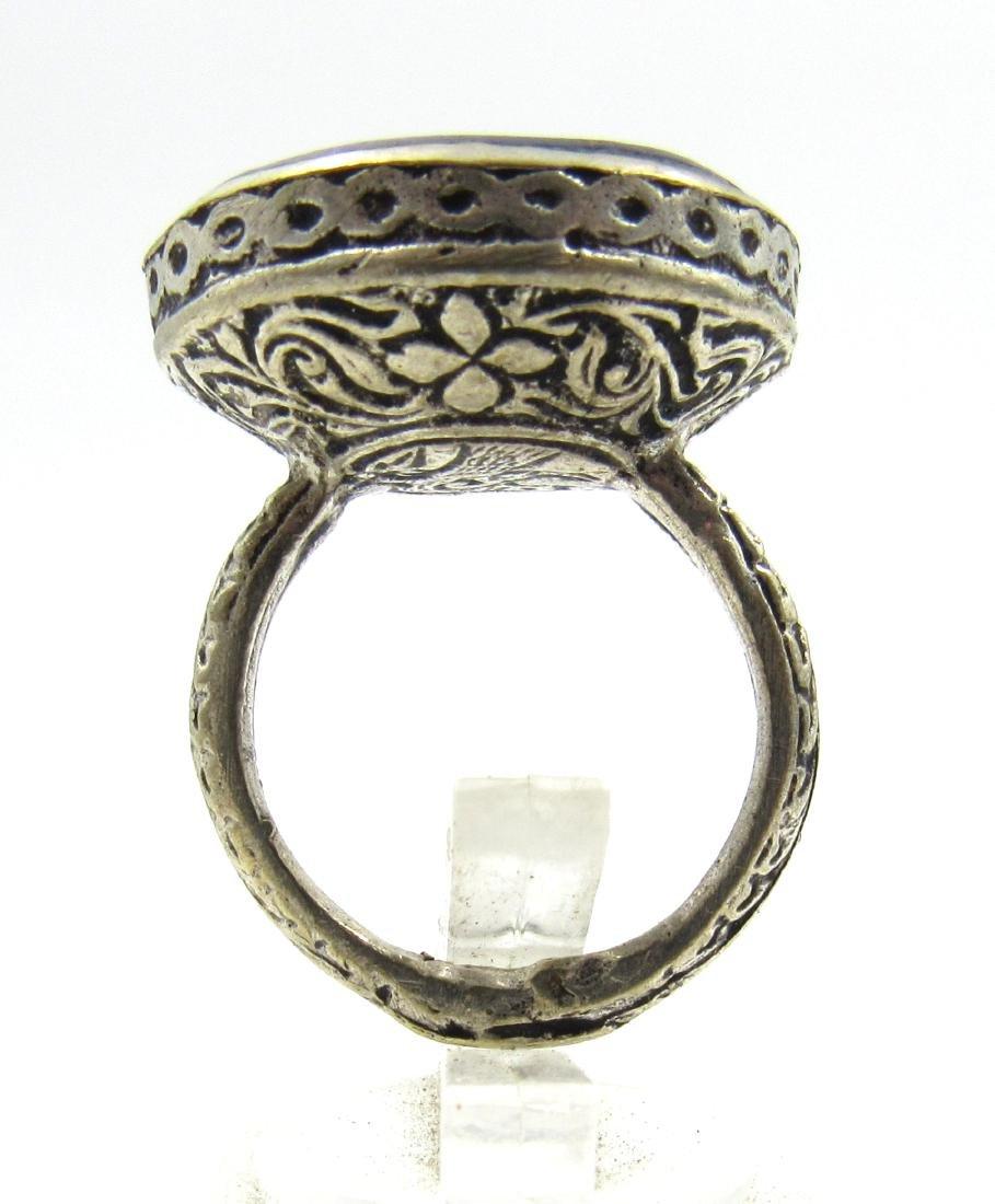 Post Medieval Silver Ring with Lapis Pegasus Intaglio - 4