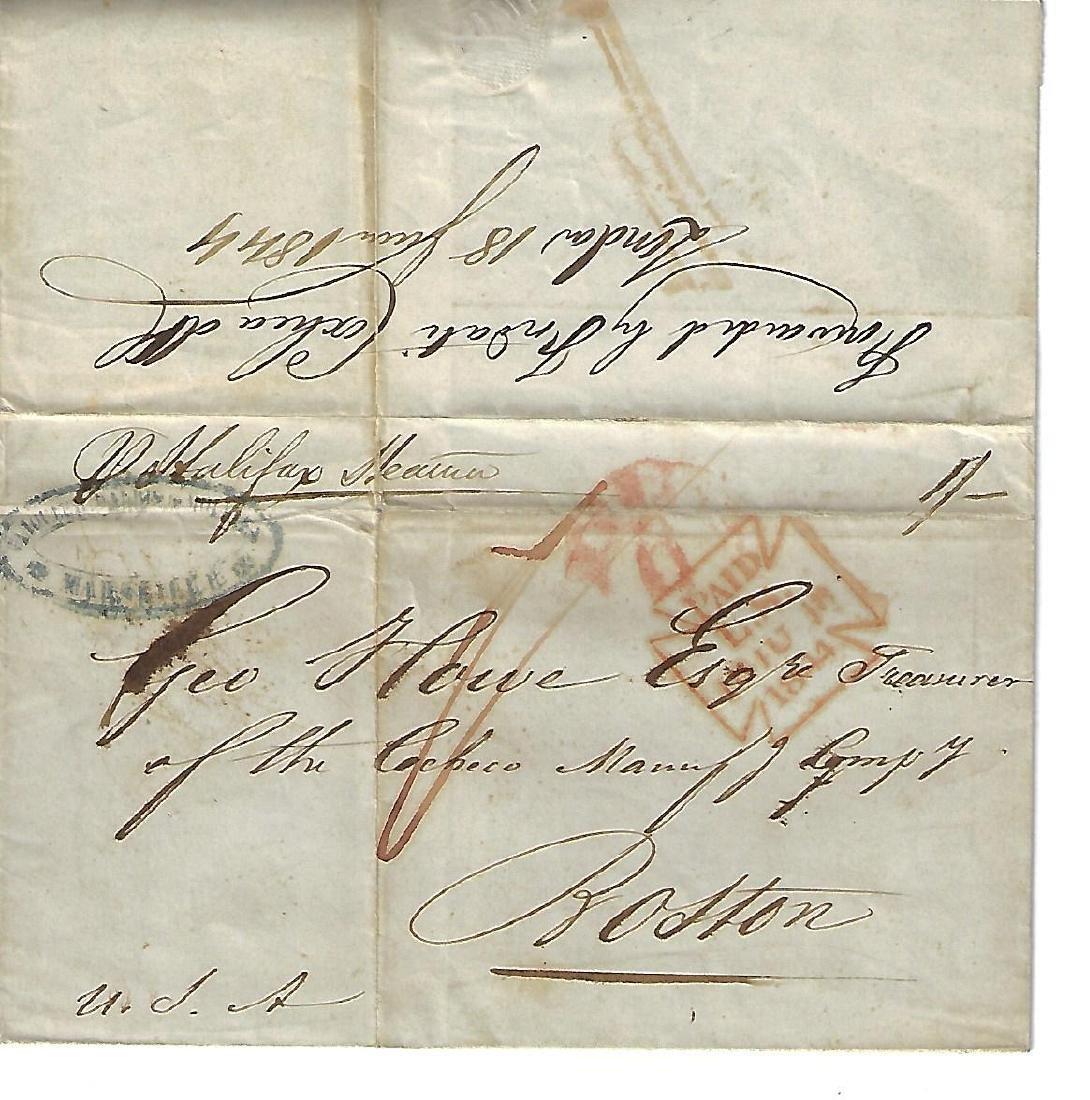 19th C Transatlantic Folded Letter Steamer Halifax