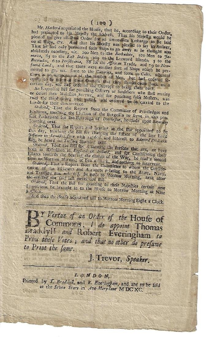 1690 English Newspaper Shipping Colonies - 2