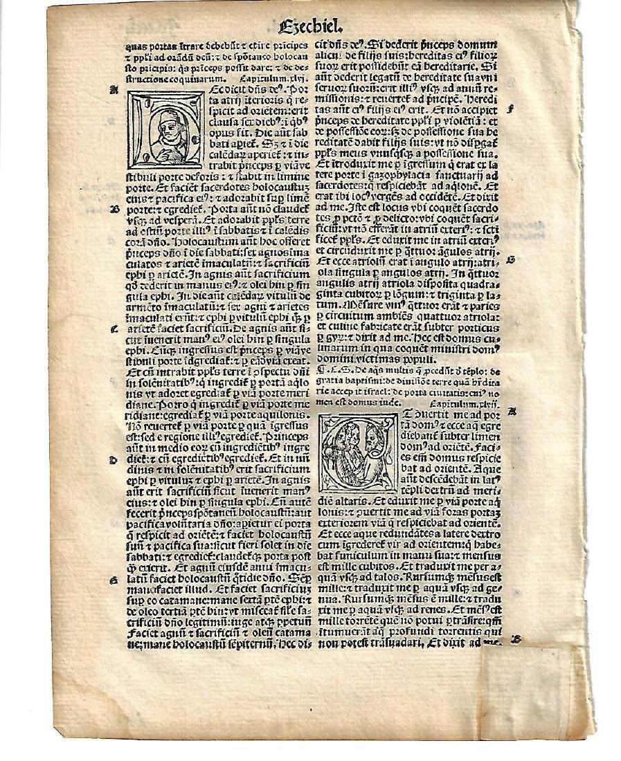 1514 Bible Leaf from Ezekiel w/ Portrait Initials