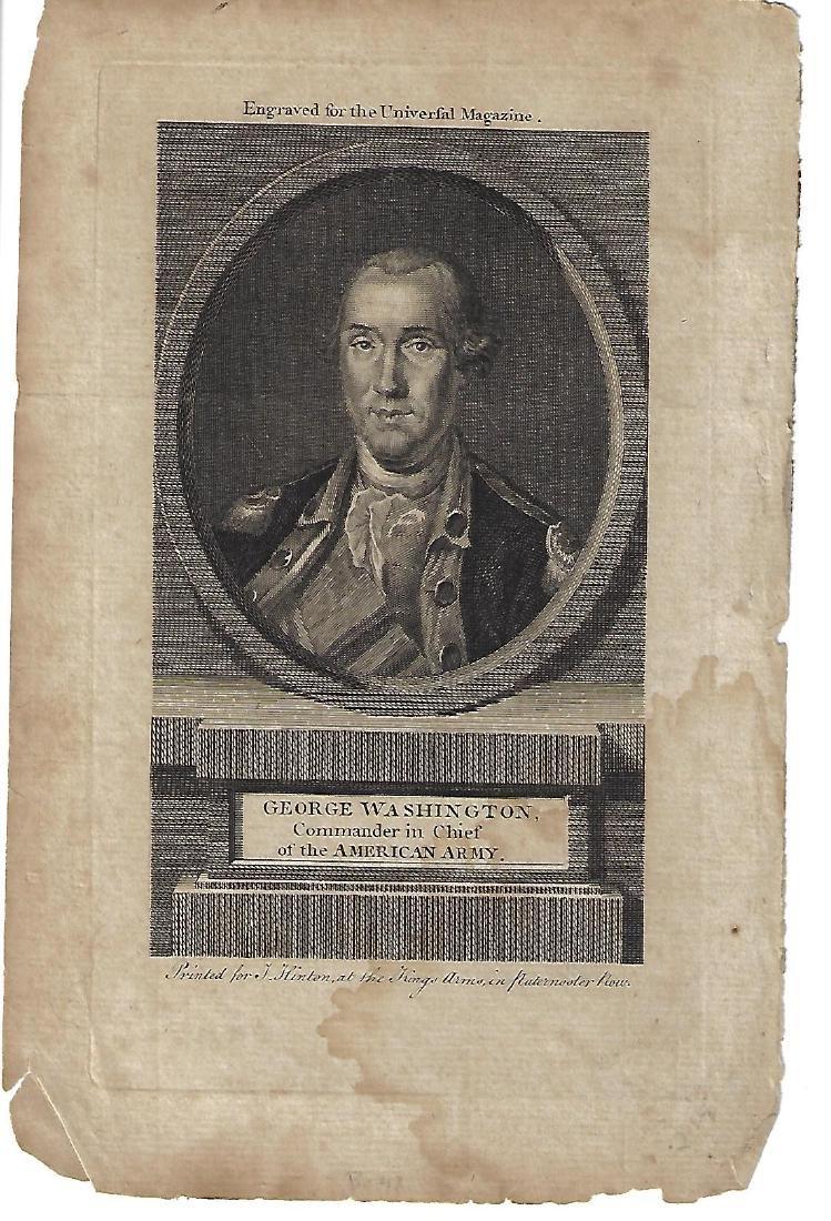 c1800 Hinton Engraving of George Washington by Hinton
