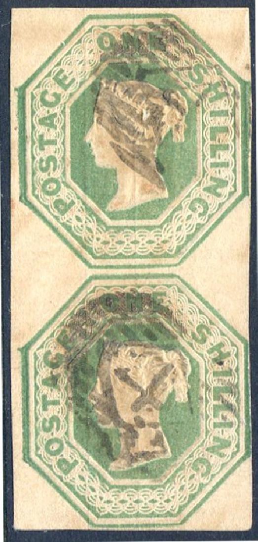 Stamp 1/- Green SG55 Pair