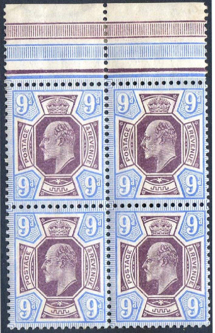Stamp 9d Slate Purple and Pale Ultramarine Marginal