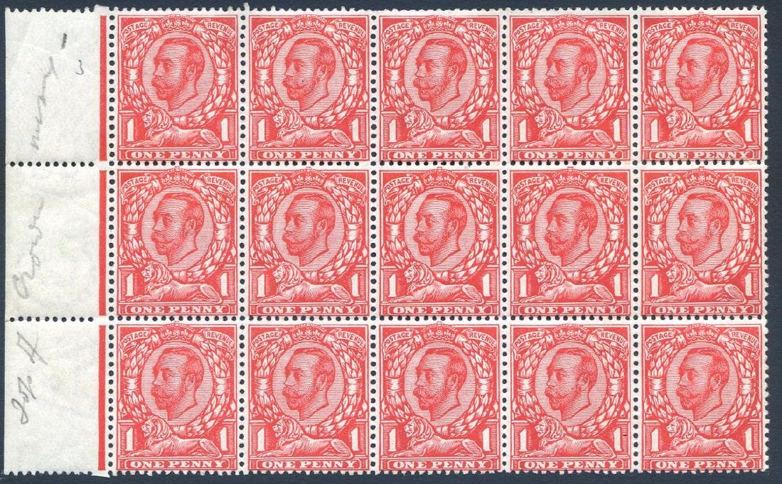 Stamp 1d Bright Scarlet SG341a Block 15