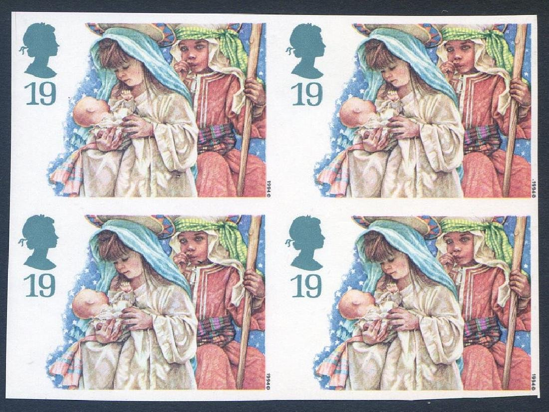 Stamp Christmas 1994 19p Imperforate Block 4 SG1843a