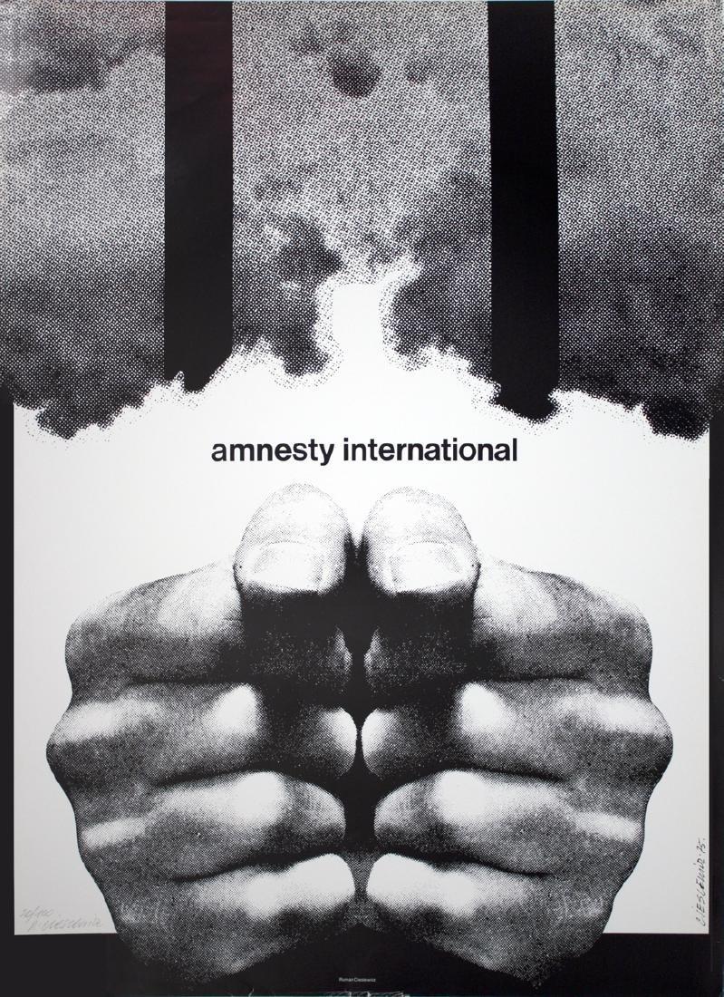 Roman Cieslewicz Offset Lithograph Amnesty
