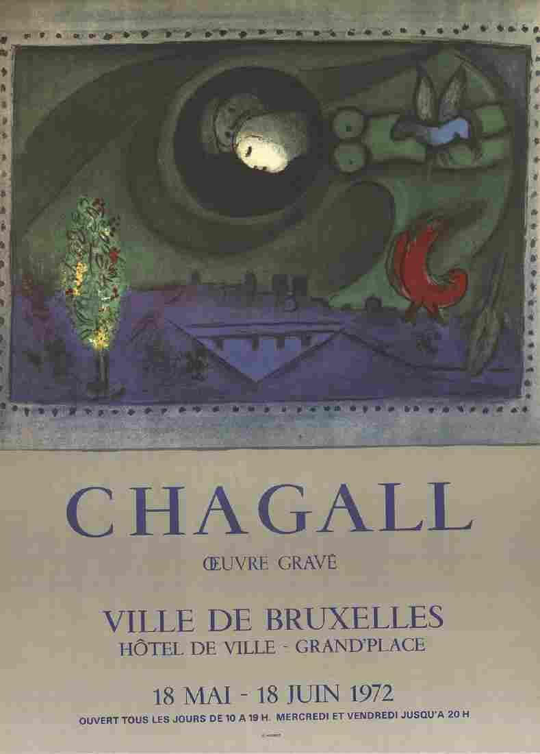 Marc Chagall Offset Lithograph Ville De Bruxelles