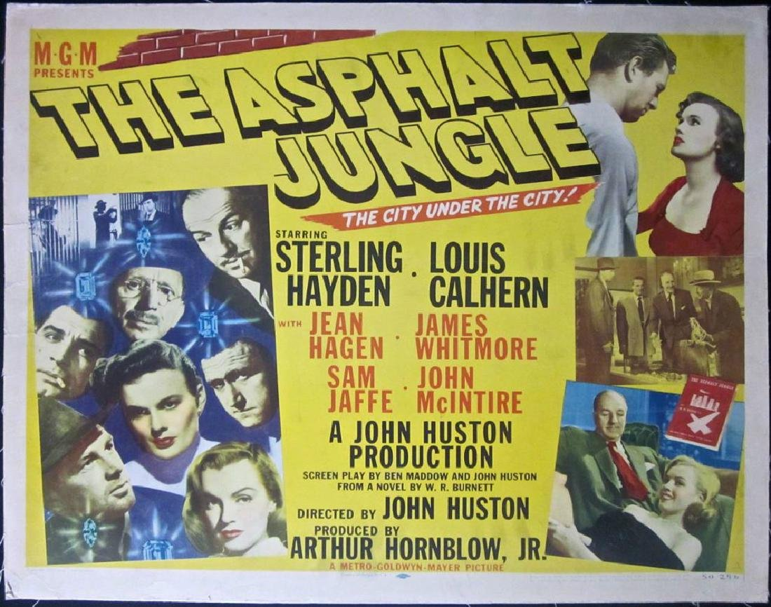 THE ASPHALT JUNGLE 1950 HALF SHEET LB POSTER RARE