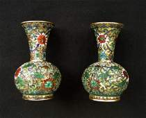 Pair of Chinese open work cloisonné enamel vases, 19th