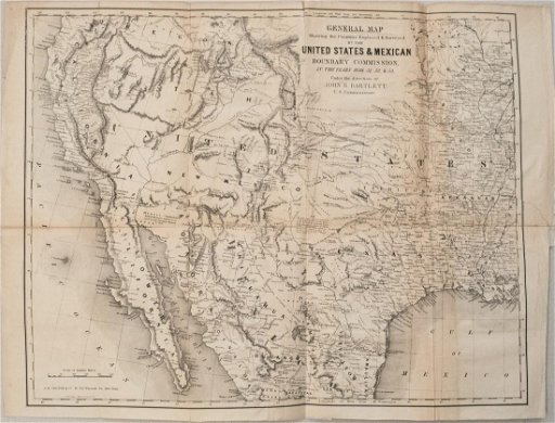 1854 Bartlett Map of Western US and Northern Mexico --