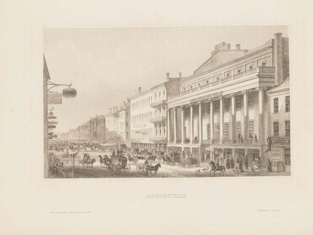 View of Louisville 1860 circa Steel etching