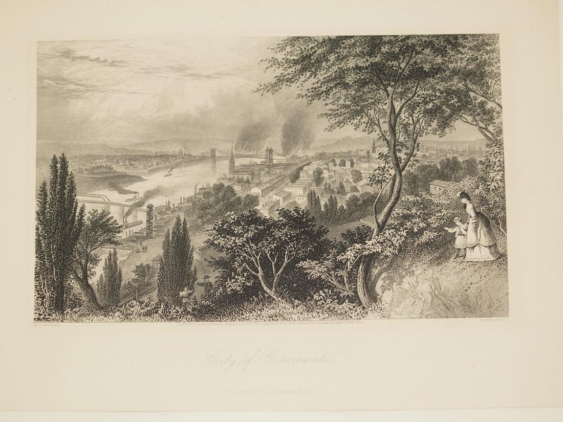View of Cincinnati 1870 circa Steel etching Wellstood