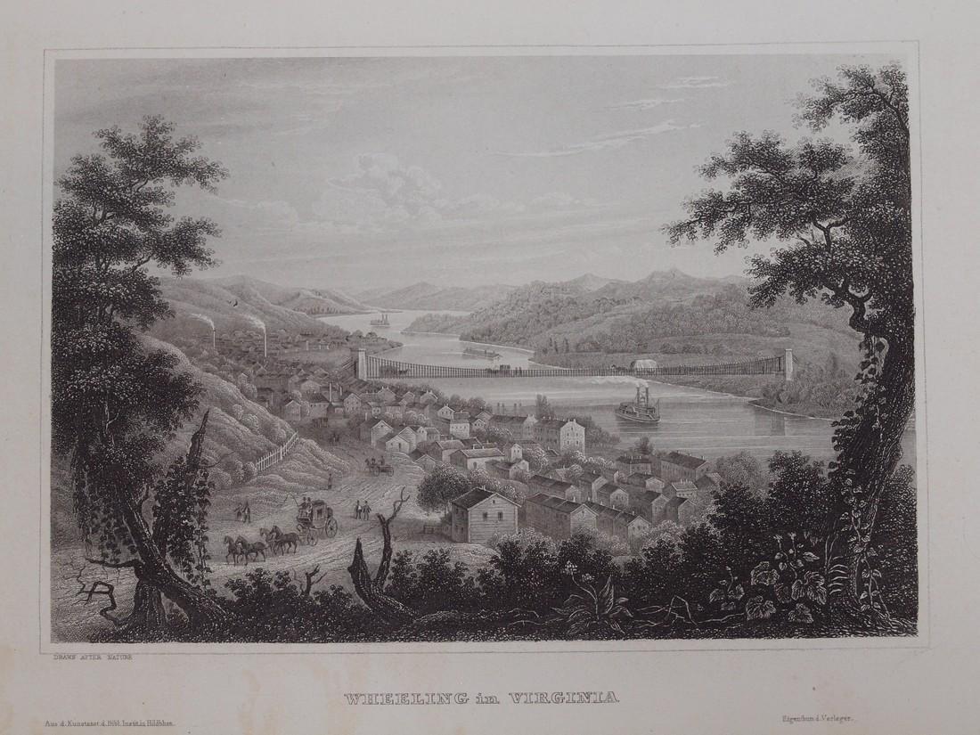 View of Wheeling in Virginia 1860 Steel etching