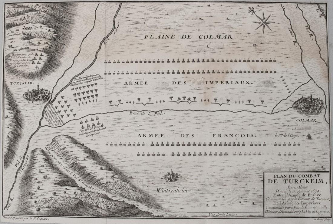 1705 Coquart Map of the Battle of Turckheim -- Plan du