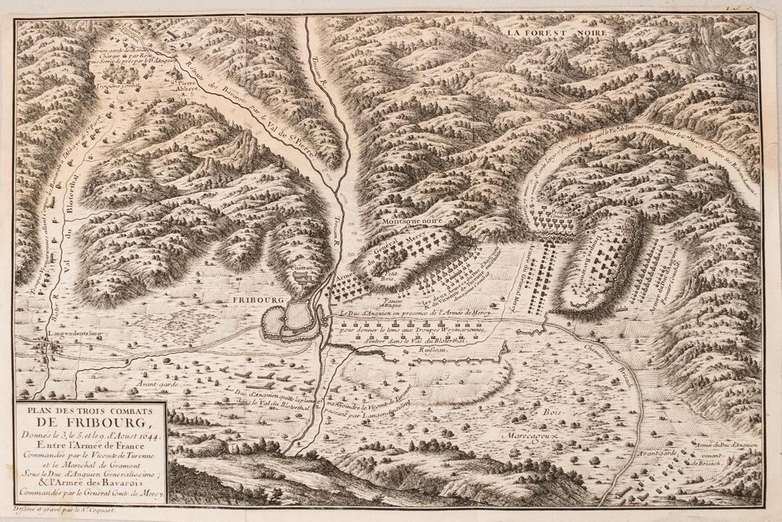 1705 Coquat Plan of the Battle of Fribourg during the