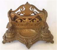 19th Century French Victorian Double Inkwell with split
