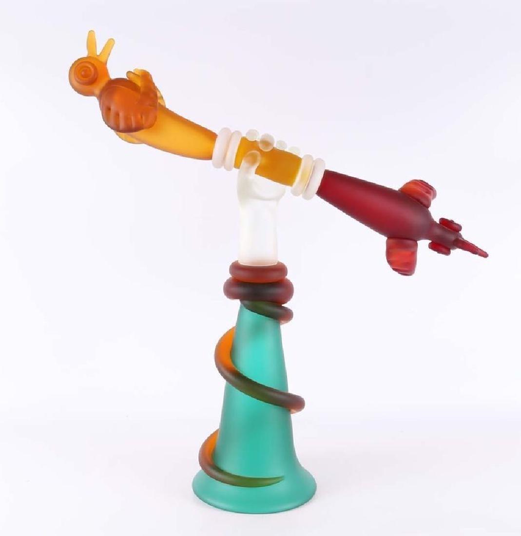Free Form Sculpted glass TOTEM by Artist Tadashi Torii