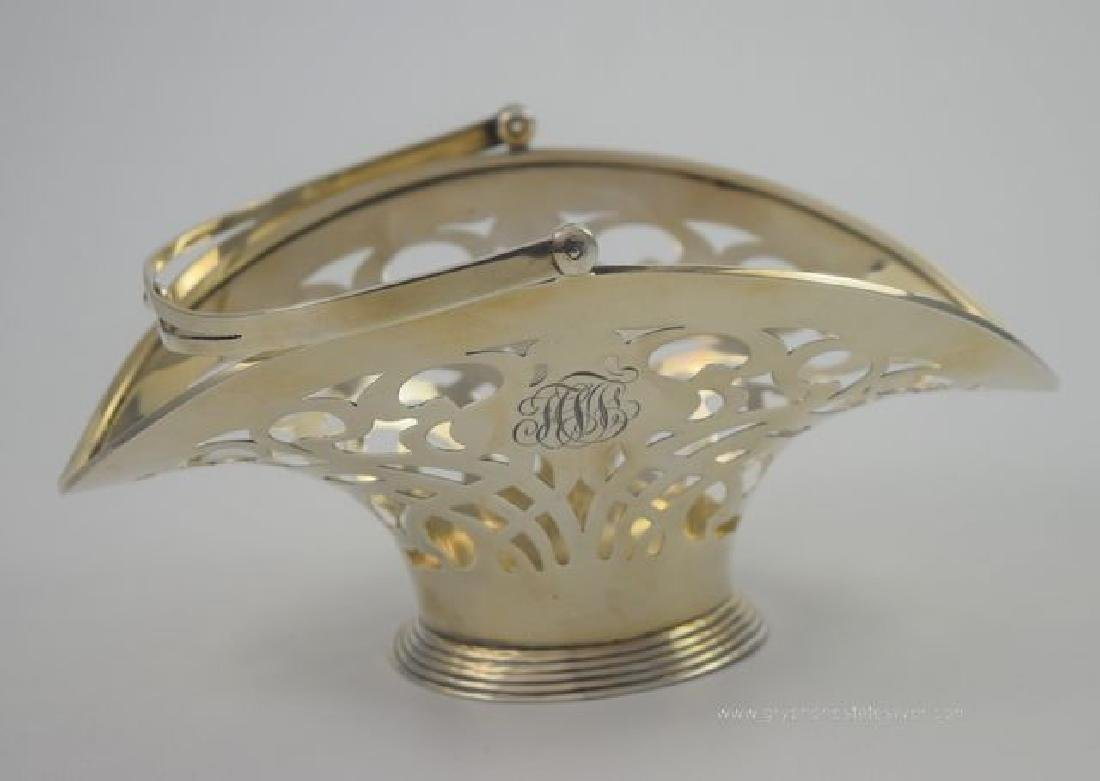 Vintage Sterling Silver Reticulated Basket with Bale