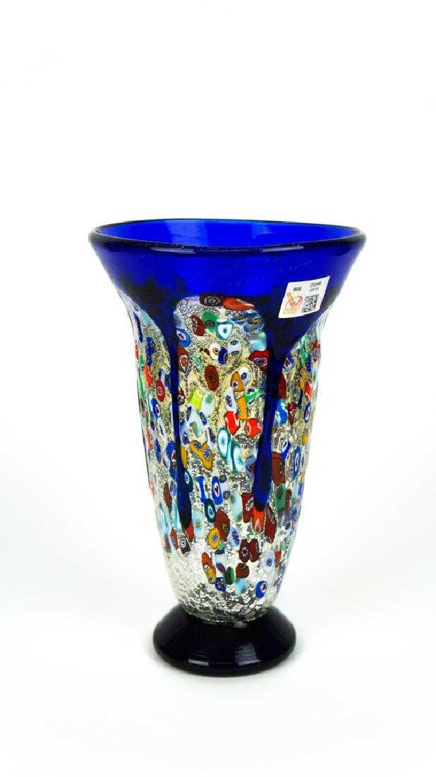 Murano Glass Vase Millefiori Blue