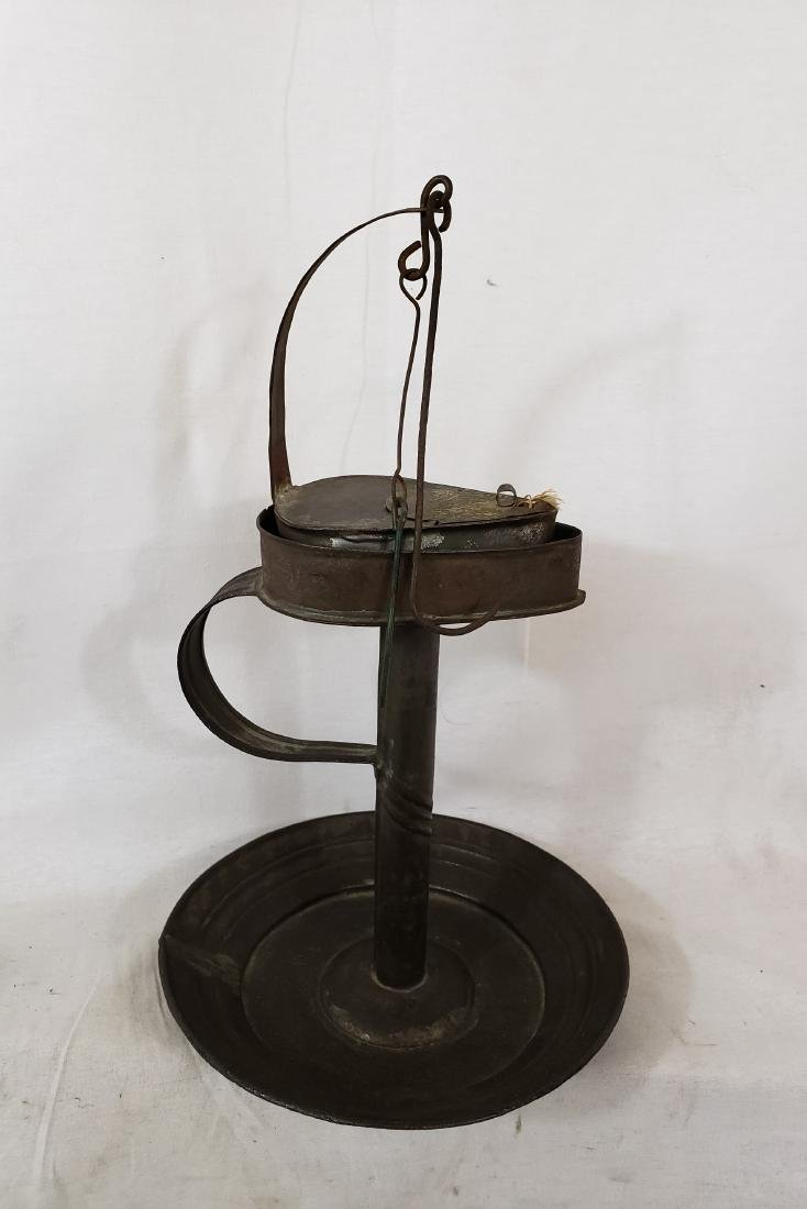 Tin Fat Lamp and Tidy Ca 1860