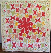 Early Applique Coverlet/ Quilt