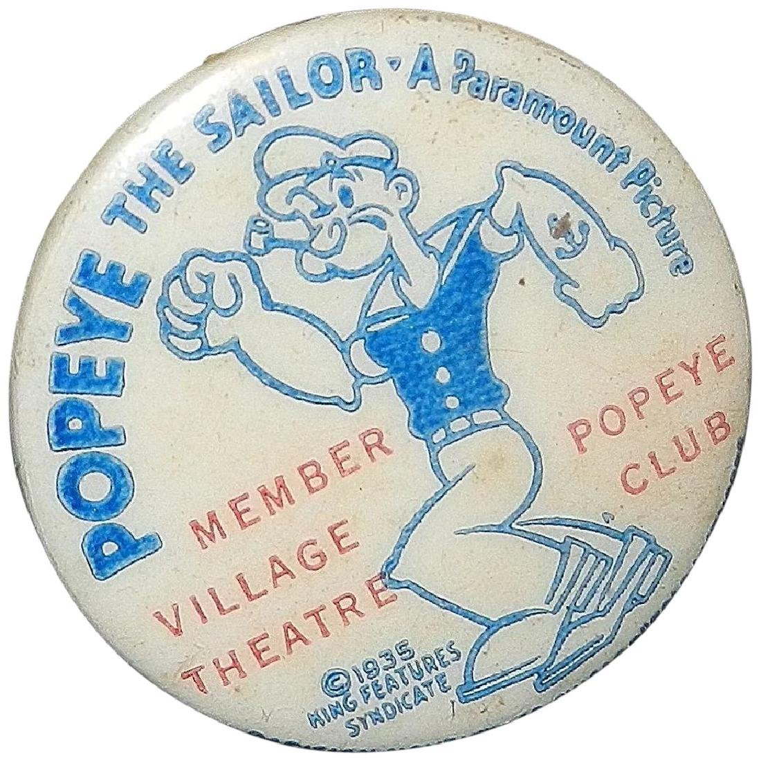 Vintage Popeye the Sailor Pinback Button- Paramount