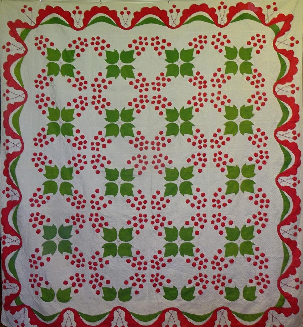 Antique Applique Quilt - Cherries and swags