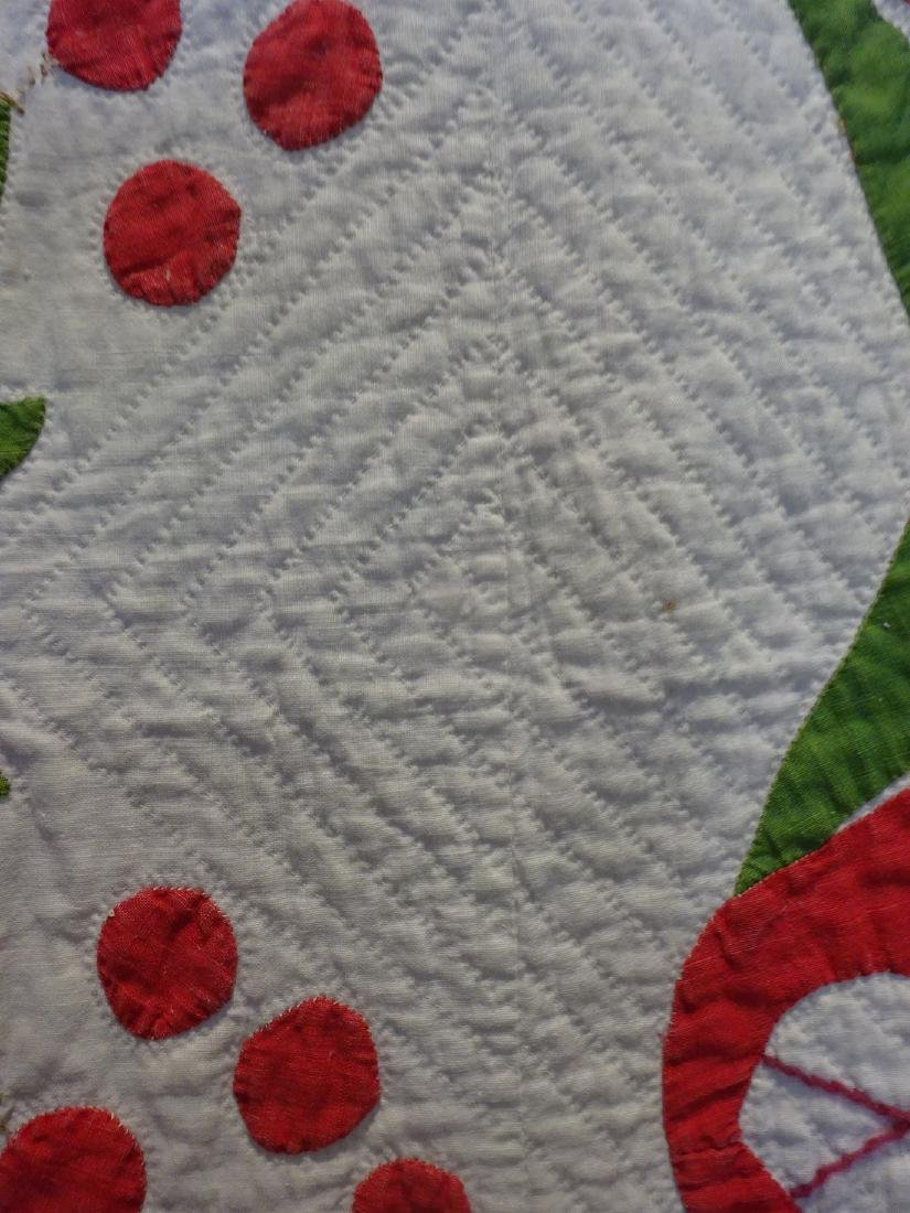Antique Applique Quilt - Cherries and swags - 6