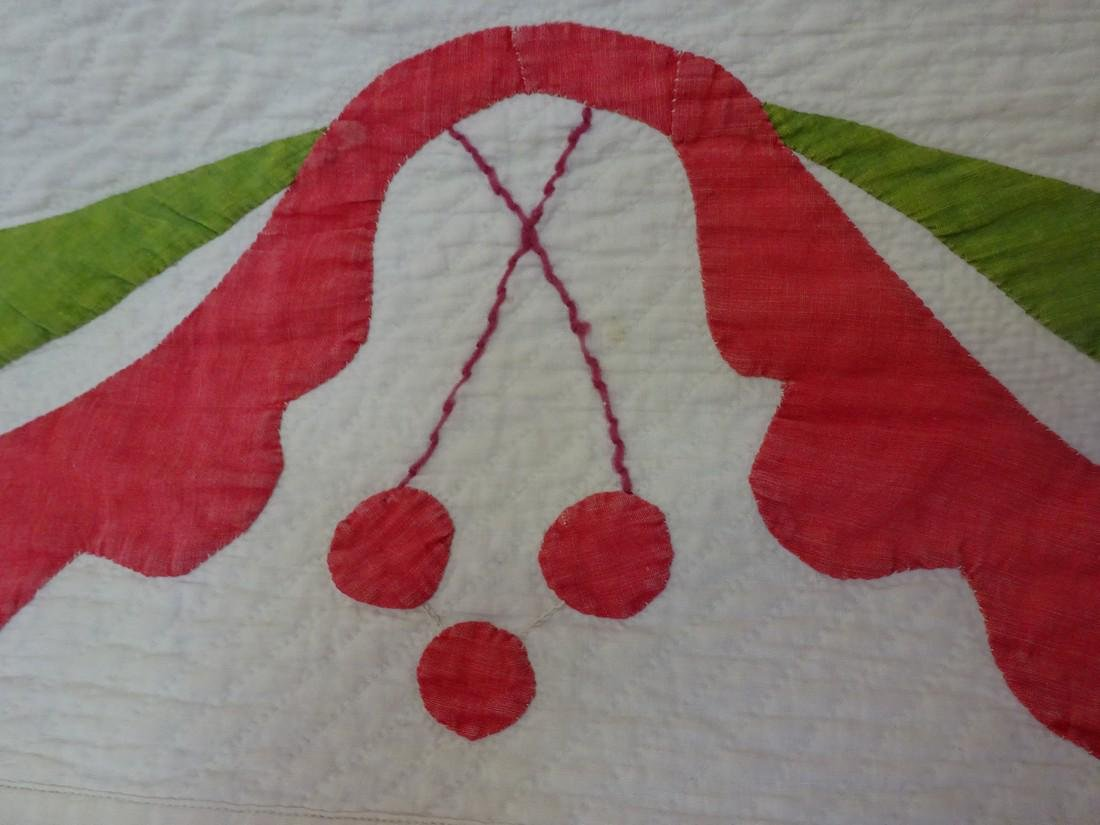 Antique Applique Quilt - Cherries and swags - 7