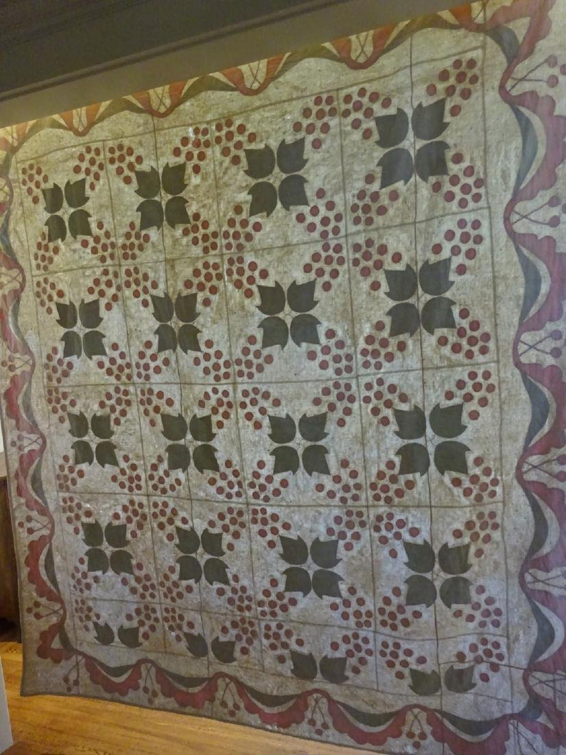 Antique Applique Quilt - Cherries and swags - 9