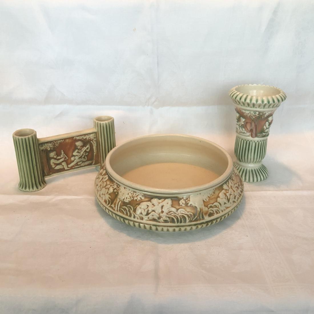 Lot of 3 Antique Roseville Donatello Bowl & 2 Vases
