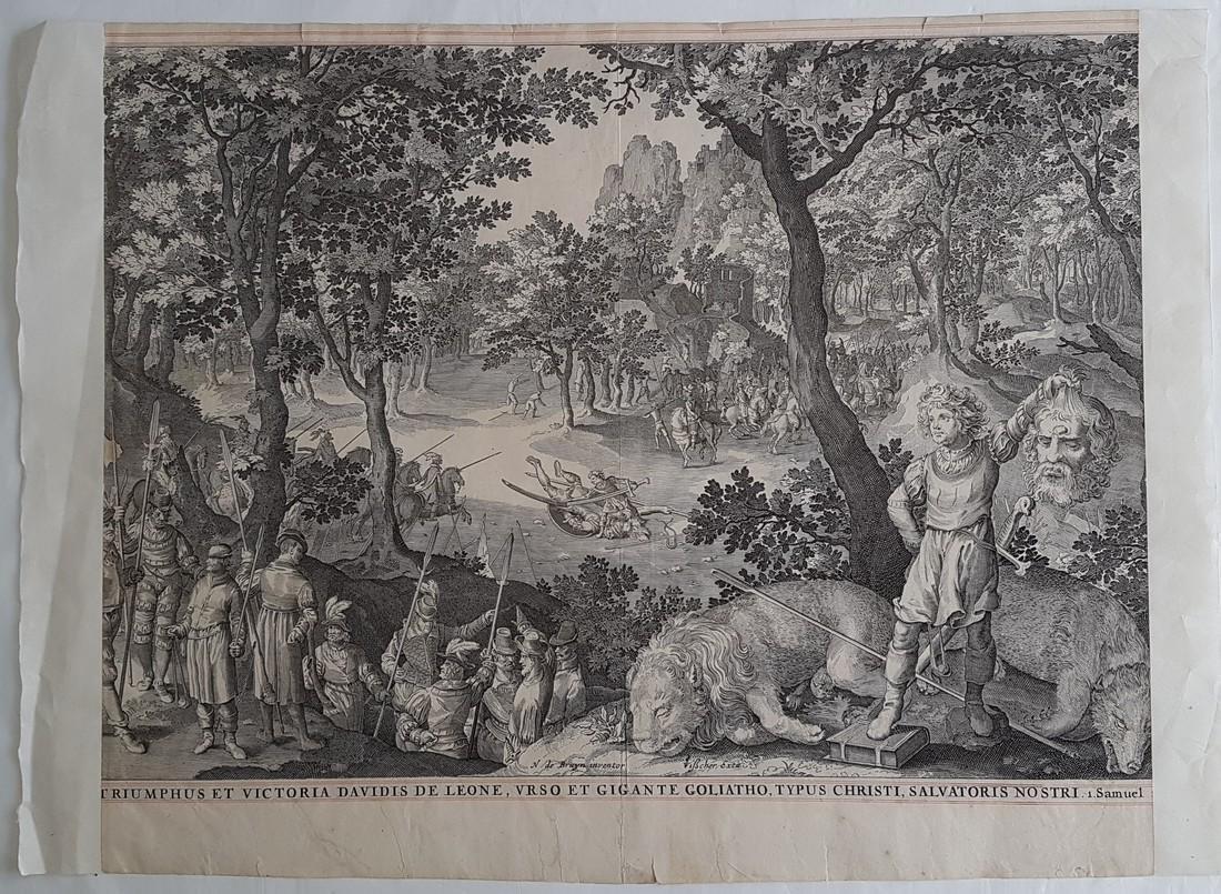 Nicolaes De Bruyn Inventor Engraving David & Goliath