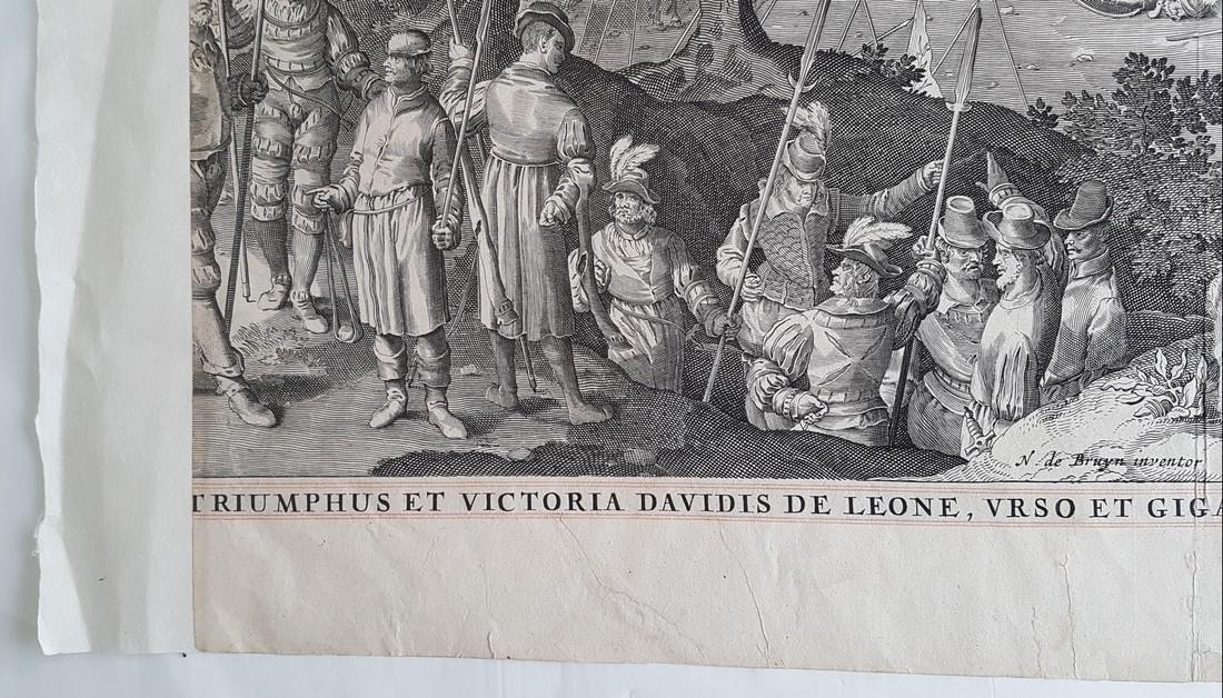 Nicolaes De Bruyn Inventor Engraving David & Goliath - 6