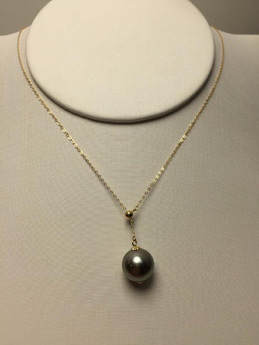 South Sea, Black Pearl 18K gold necklace. Pearl - 3