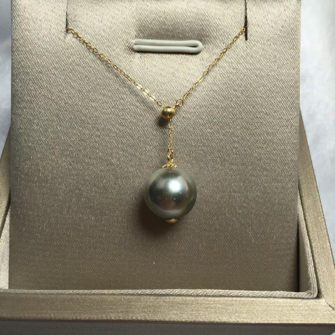 South Sea, Black Pearl 18K gold necklace. Pearl - 4
