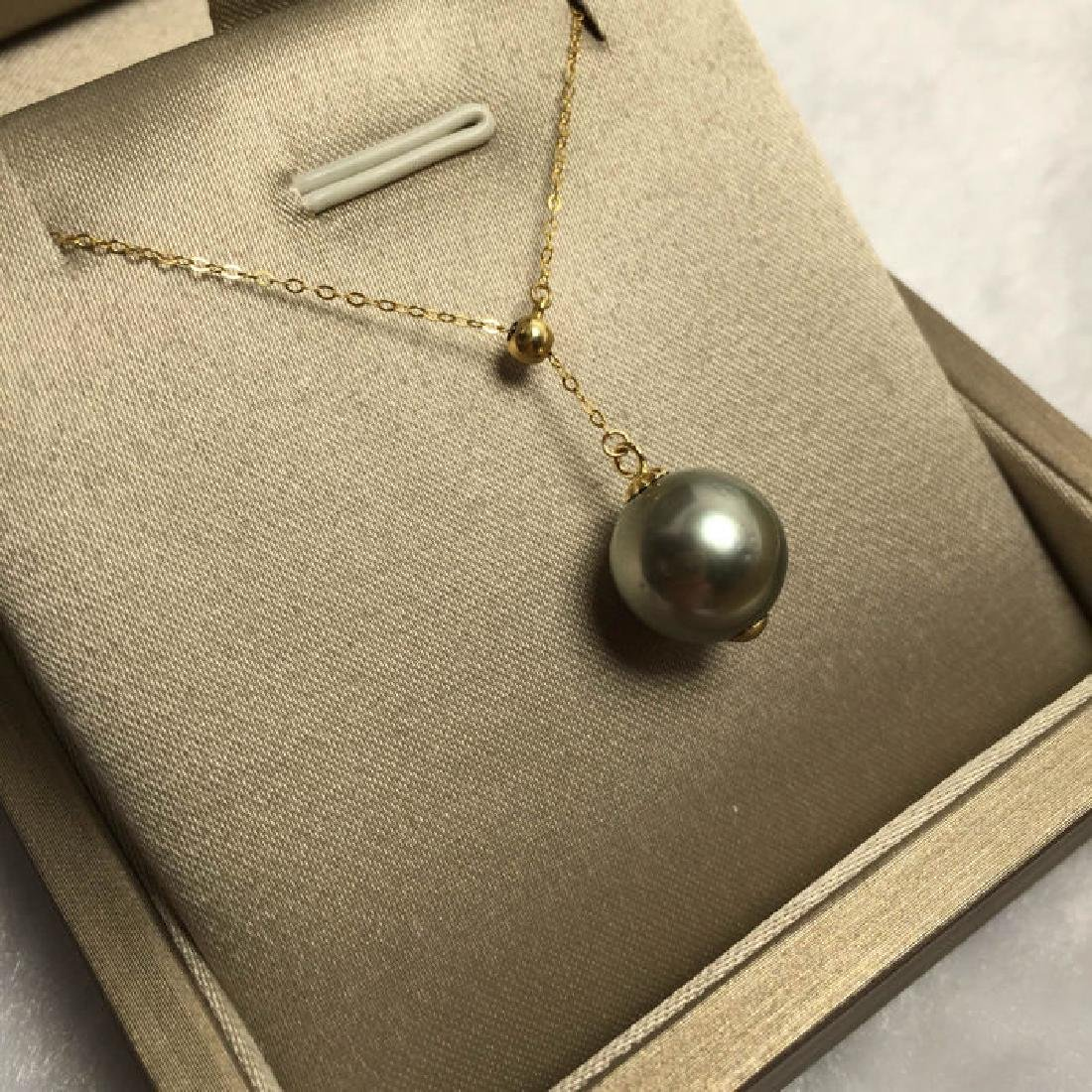 South Sea, Black Pearl 18K gold necklace. Pearl - 5