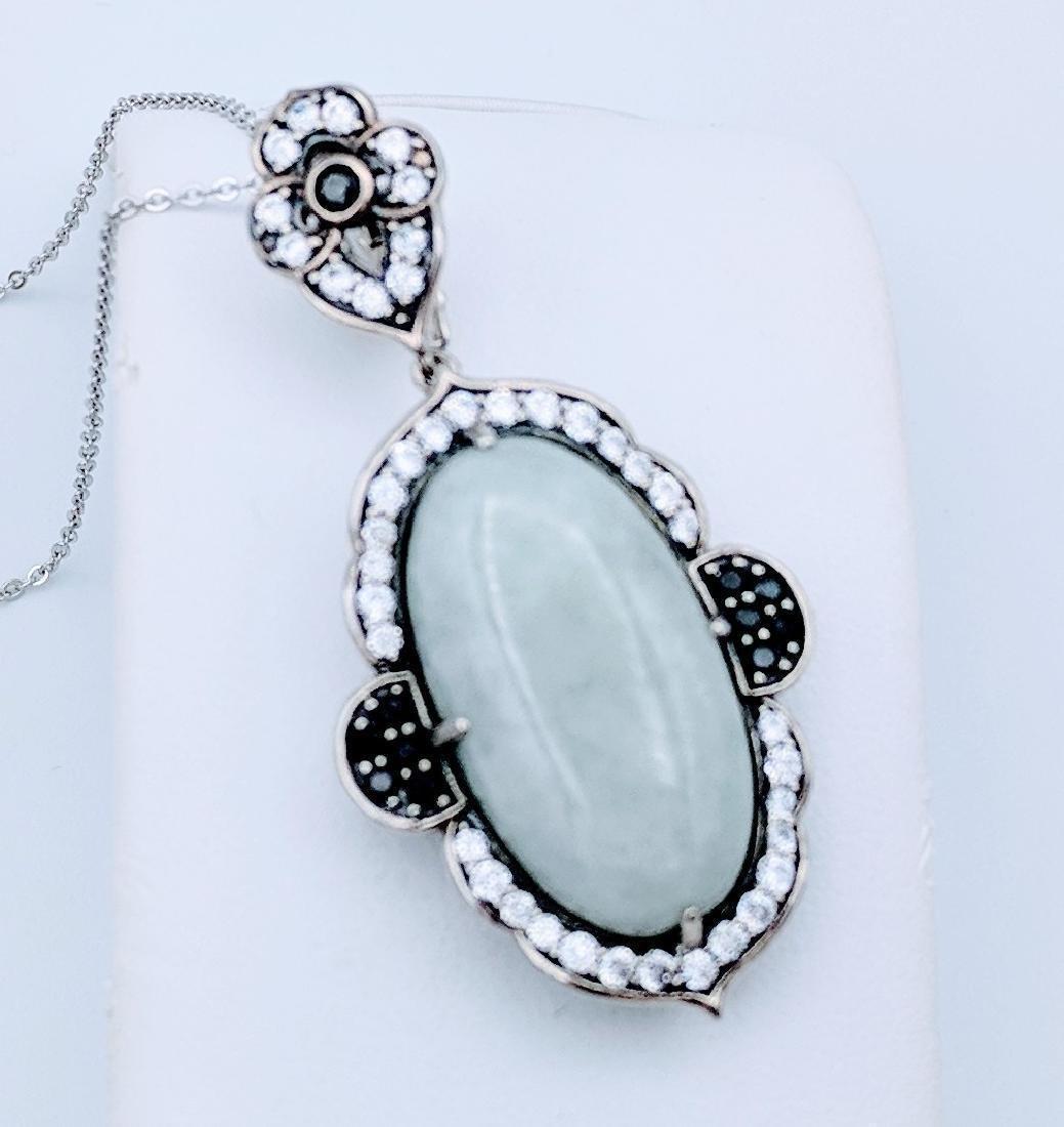Sterling Silver Jade Melanite Vintage Style Necklace