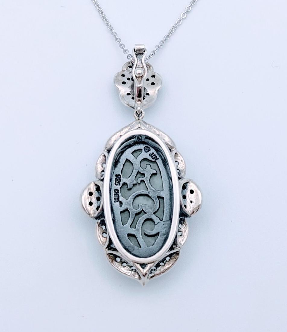 Sterling Silver Jade Melanite Vintage Style Necklace - 3