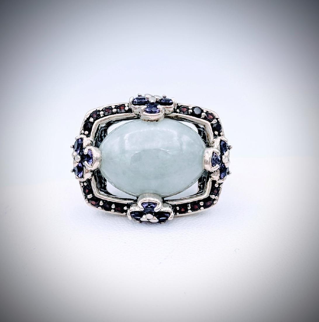 Sterling Silver Jade Almandine Garnet Amethyst Ring