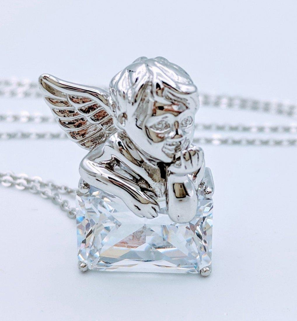 Sterling Silver Cubic Zirconia Figural Angel Pendant - 2