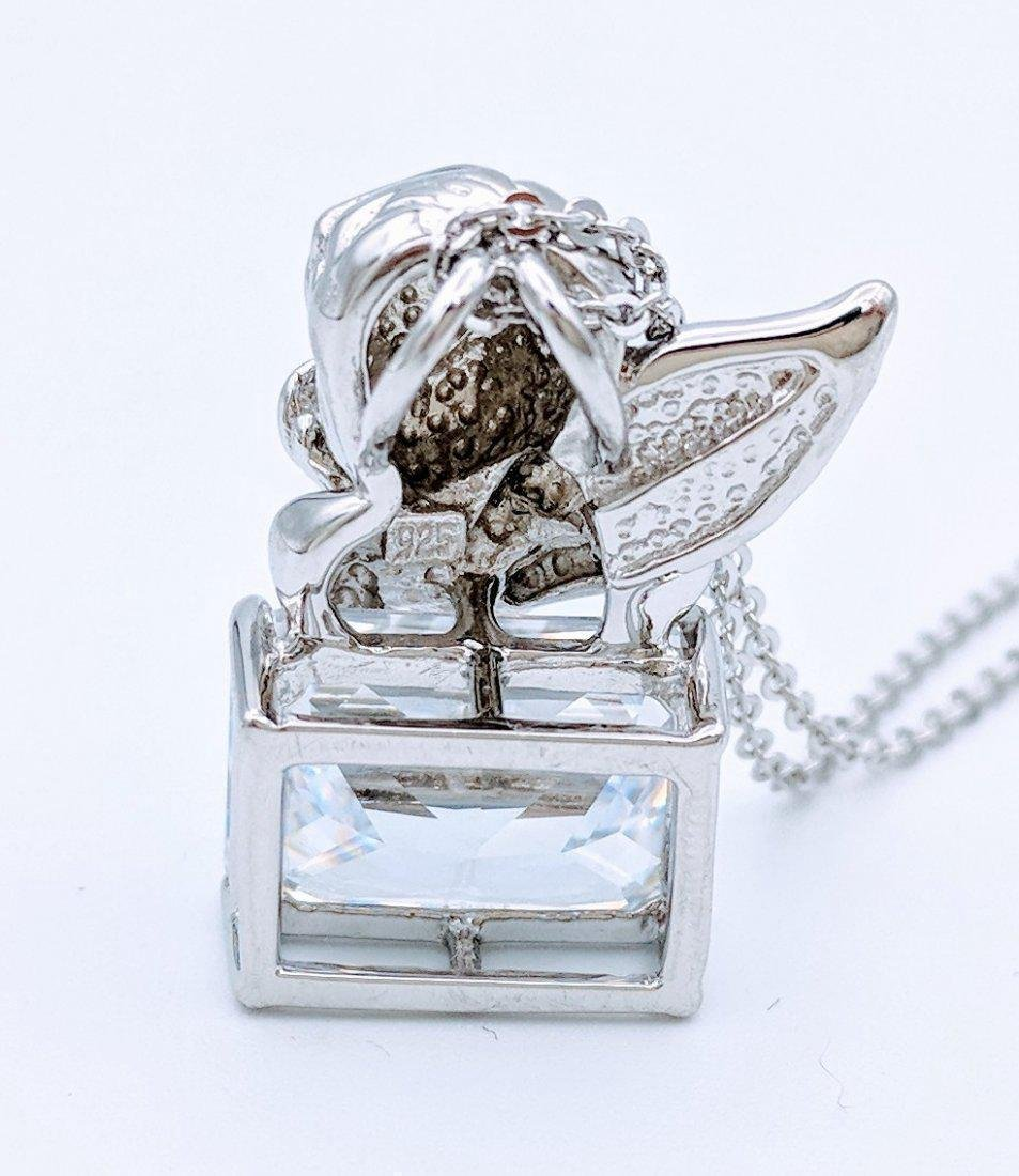 Sterling Silver Cubic Zirconia Figural Angel Pendant - 3