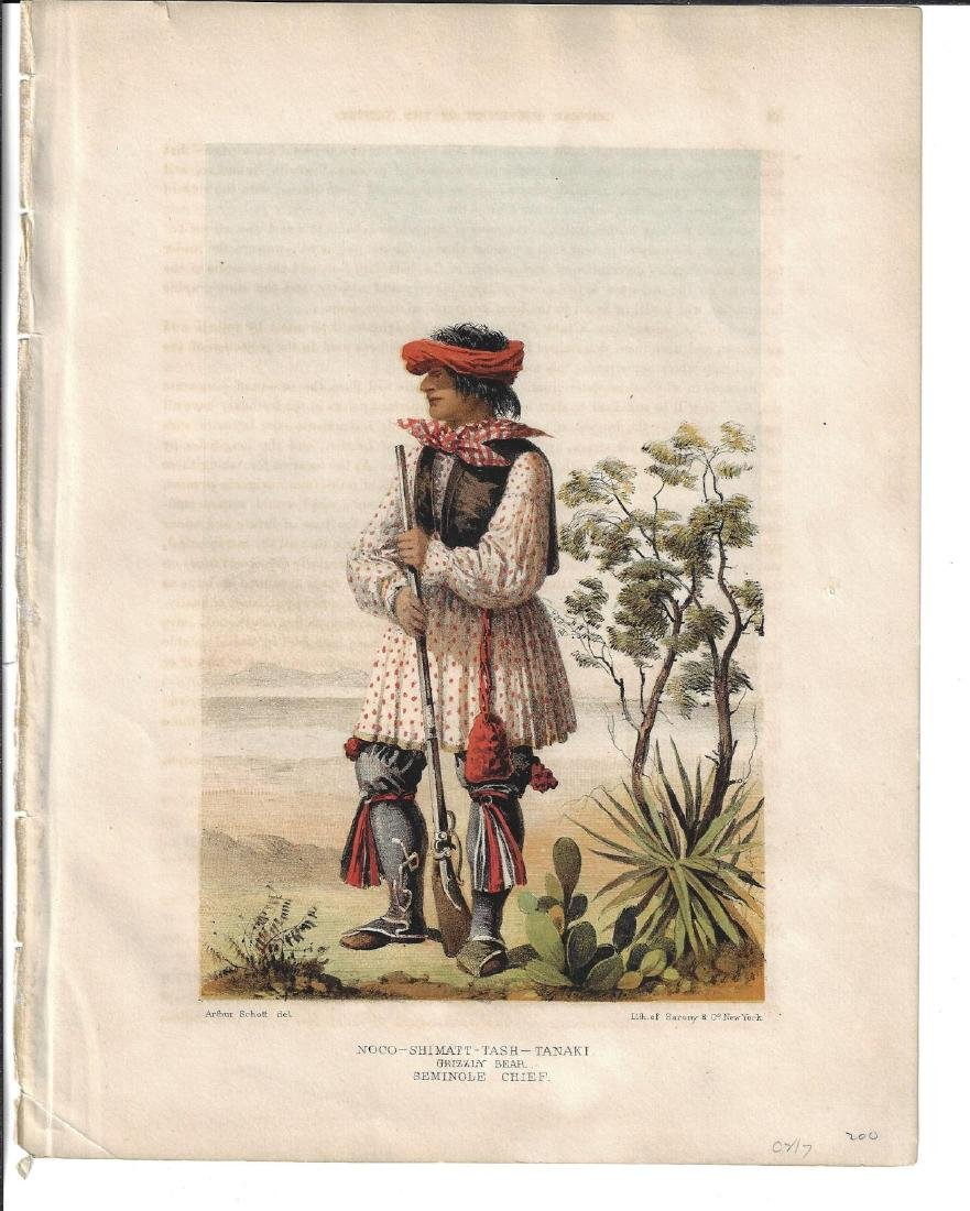 1860 Sarony Colored Lith Seminole Indian Chief